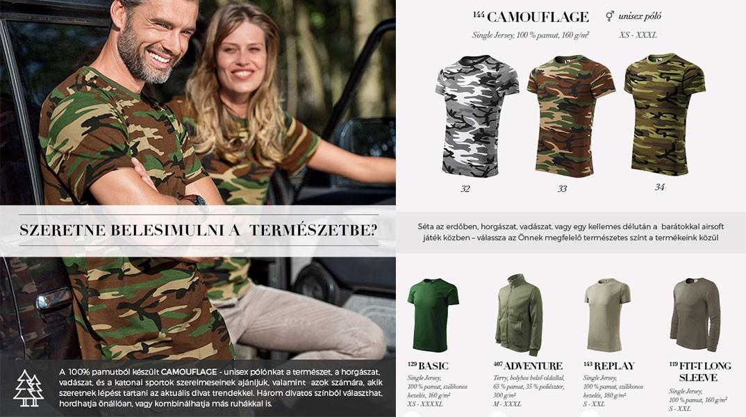 Terepmintás pólók több színben